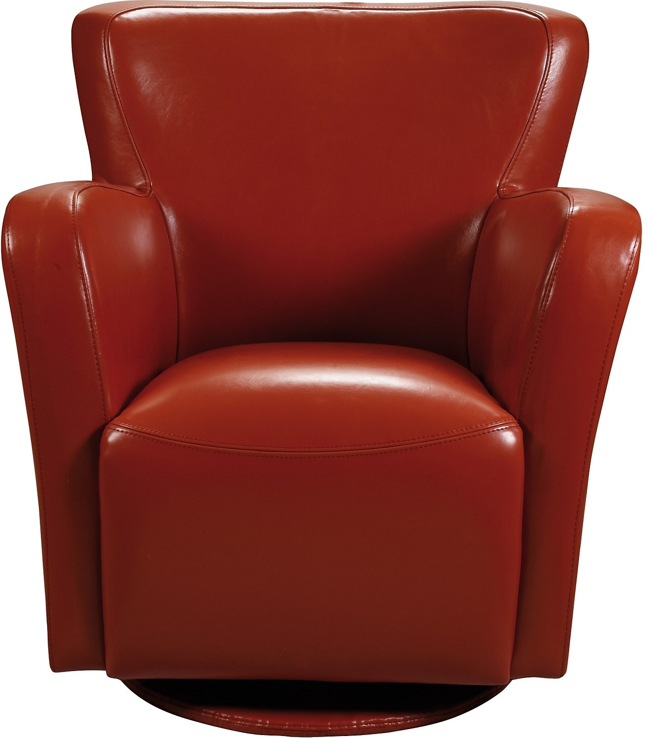Living Room Furniture - Bonded Leather Swivel Chair - Spice