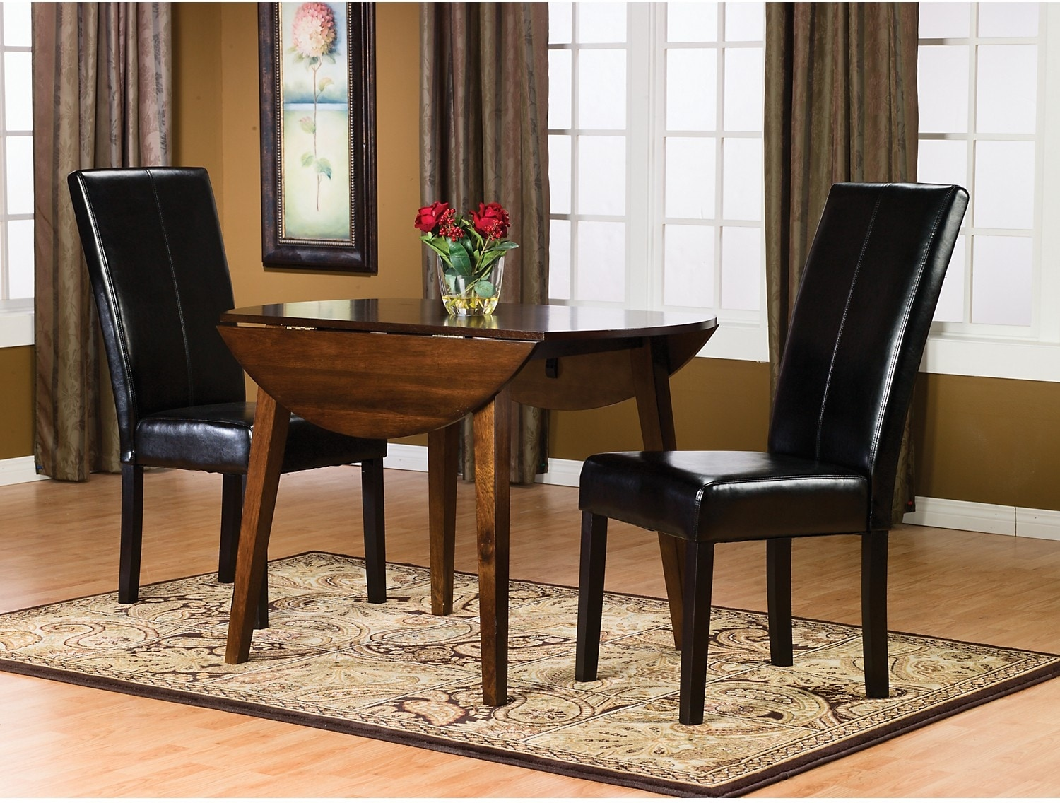 Adara 3-Piece Round Table Dining Package w/ Black Chairs