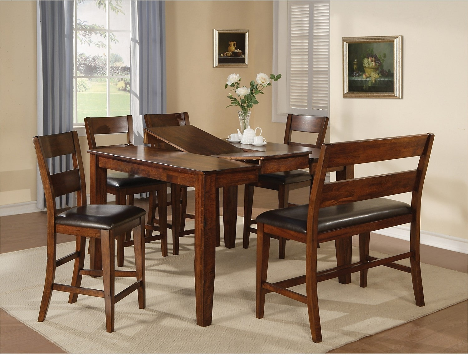 Dining Table Light Height: Dakota Light 6-Piece Pub-Height Dining Package