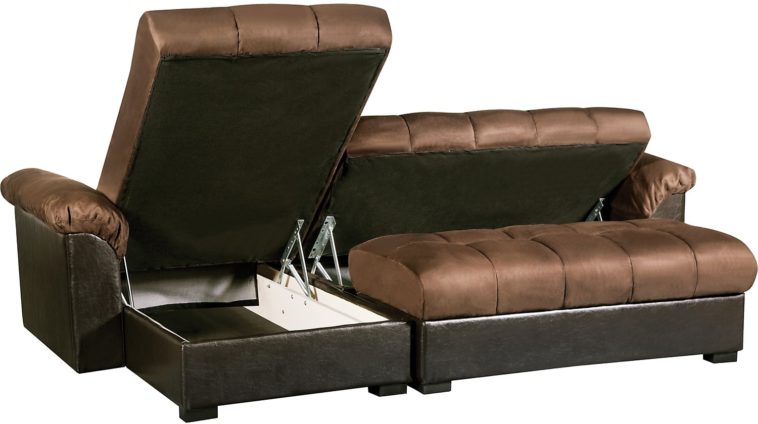 Billie 2 piece storage futon sectional with chaise for 2 piece sectional sofa with chaise