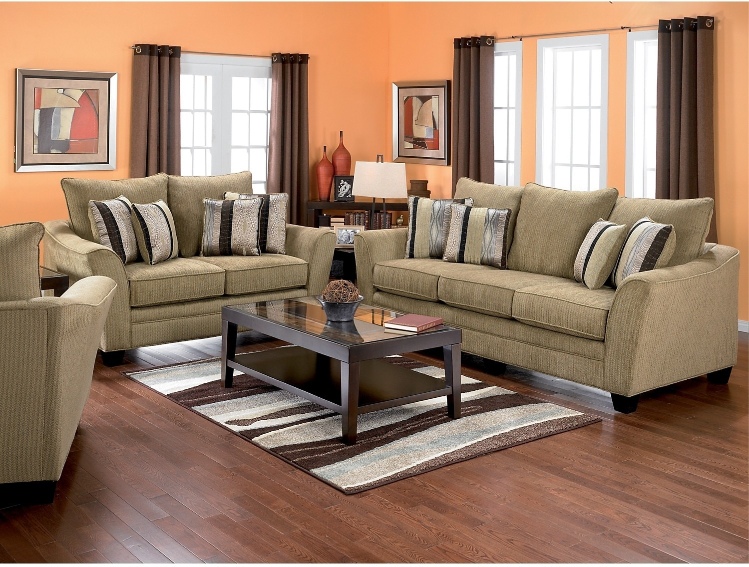 allen chenille sofa taupe the brick With living room furniture the brick
