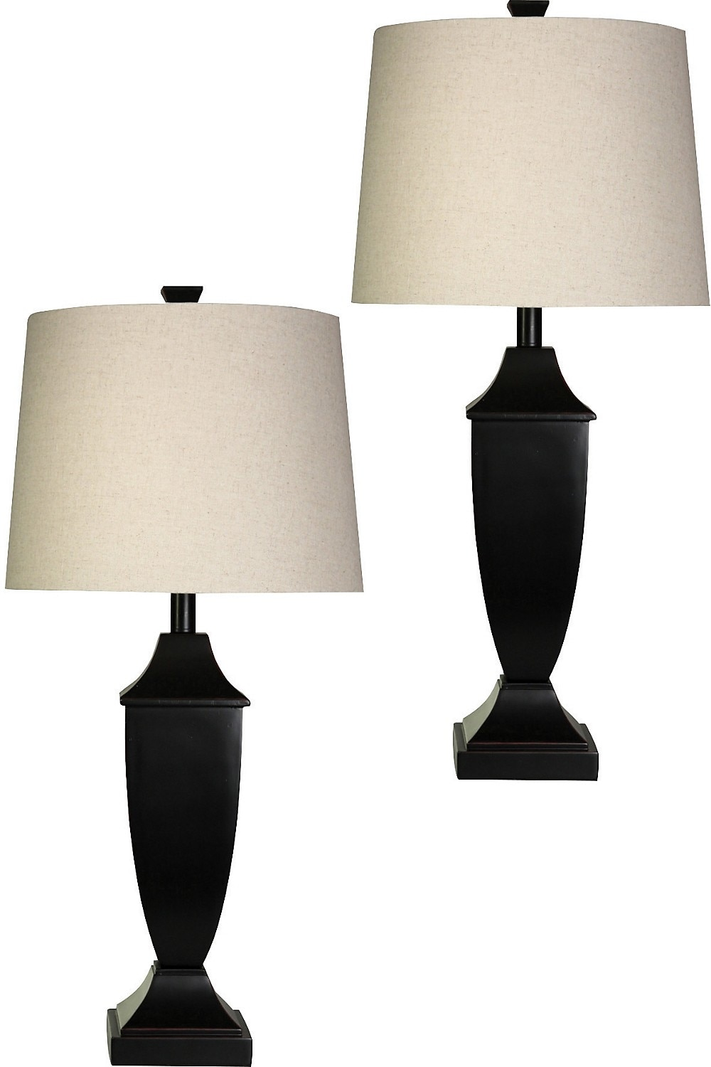 Home Accessories - Bronze Finish 2-Piece Table Lamp Set with Linen Shade