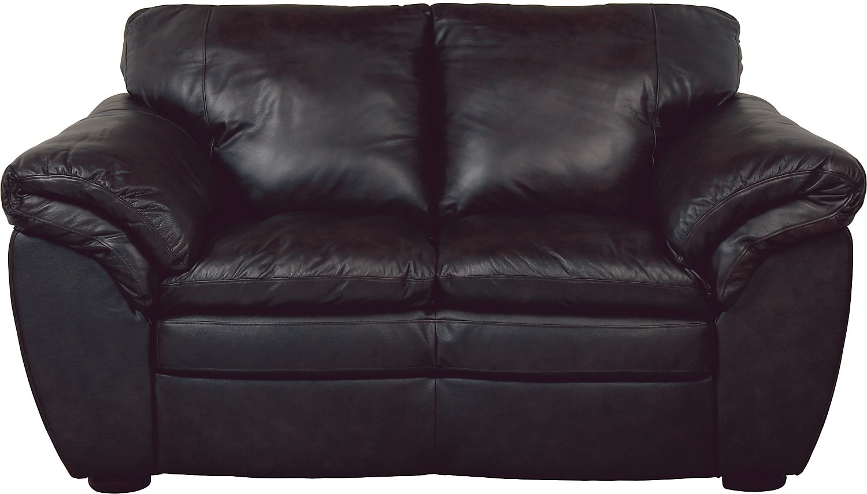 Black 100% Genuine Leather Loveseat
