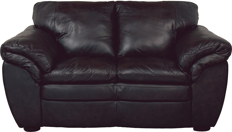 Living Room Furniture - Black 100% Genuine Leather Loveseat