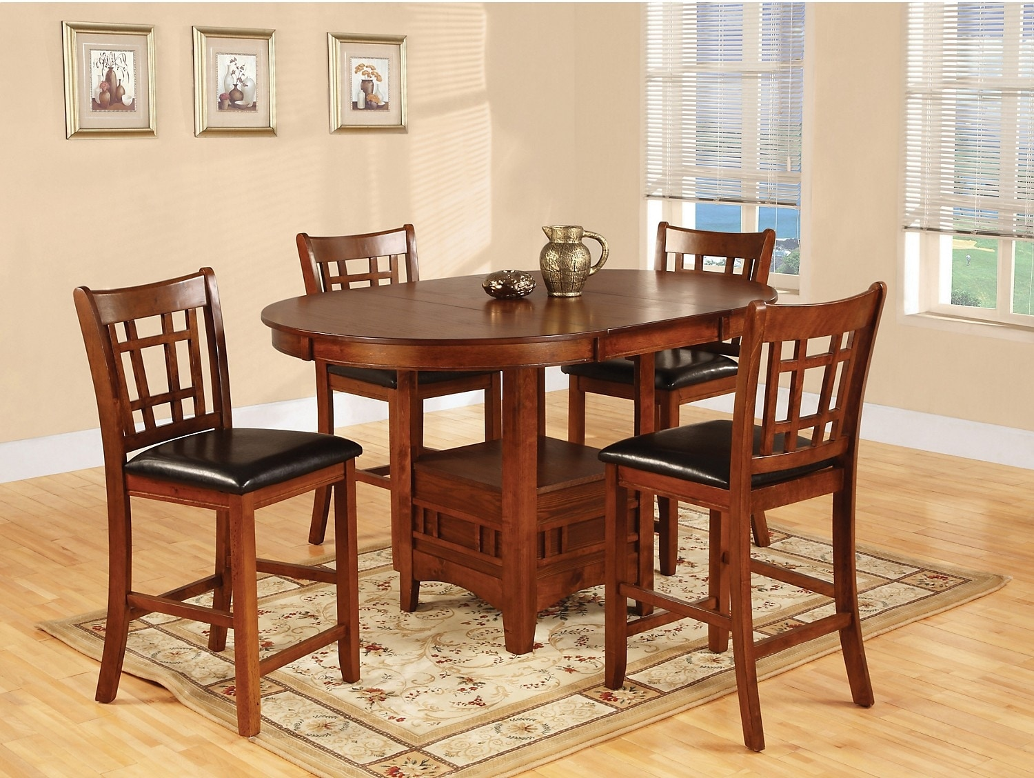 Dining Room Furniture - Dalton 5 Piece Oak Counter-Height Dining Package