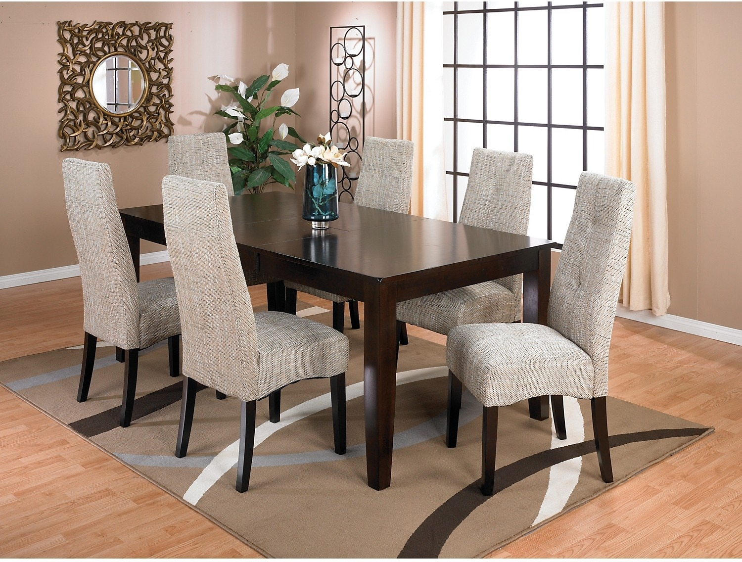 Dining Room Furniture - Dakota 7 Piece Dining Package w/ Linen Chairs