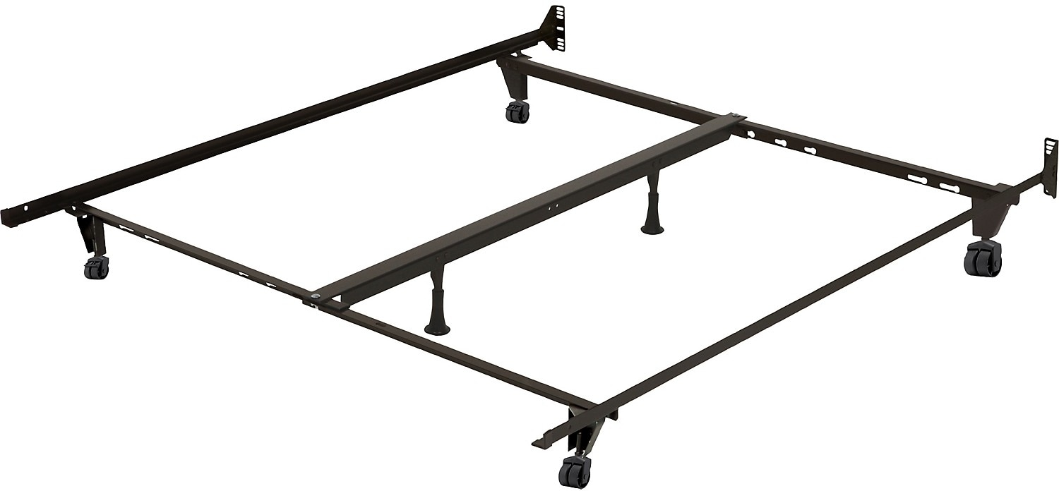 bedframe with castor wheels hover to zoom - Queen Metal Bed Frames