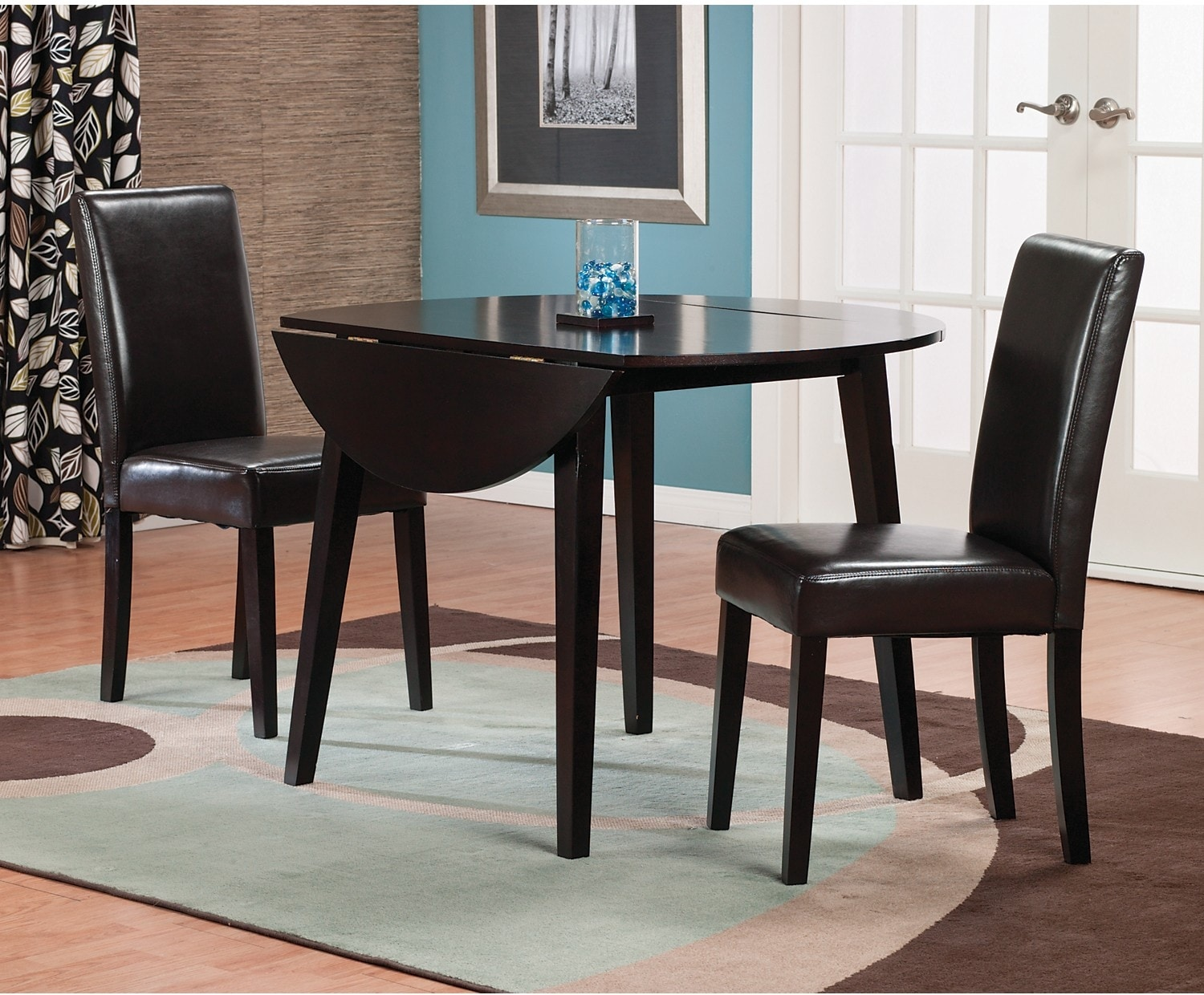 Dakota 3 piece dining package w brown faux leather chairs for Furniture 3 room package