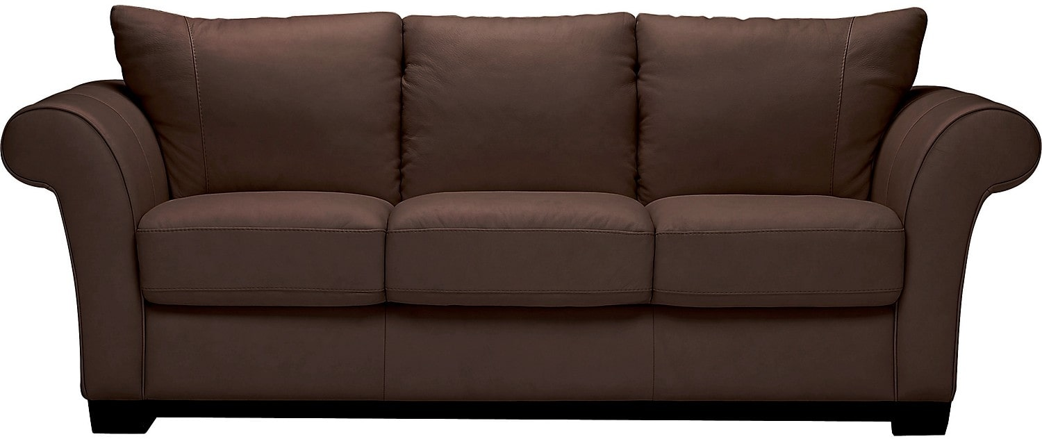Living Room Furniture - Layla Genuine Leather Sofa - Brown