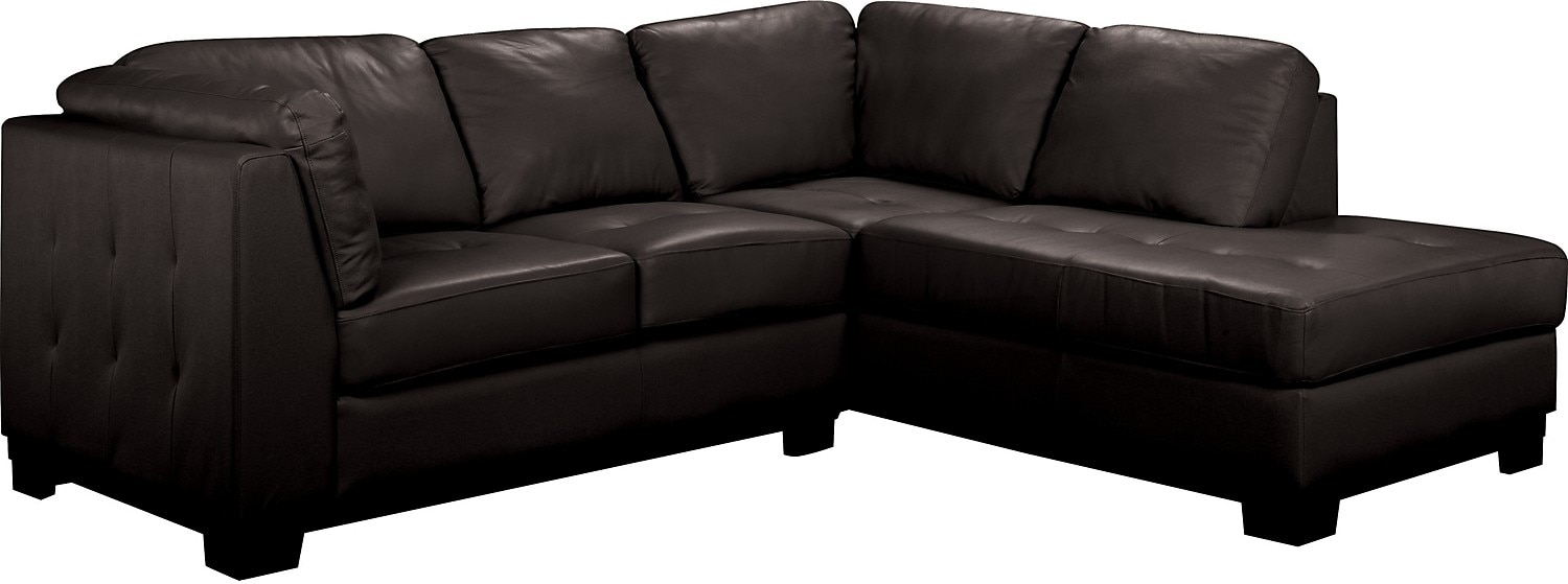 Oakdale 2-Piece Leather Right-Facing Sectional - Black