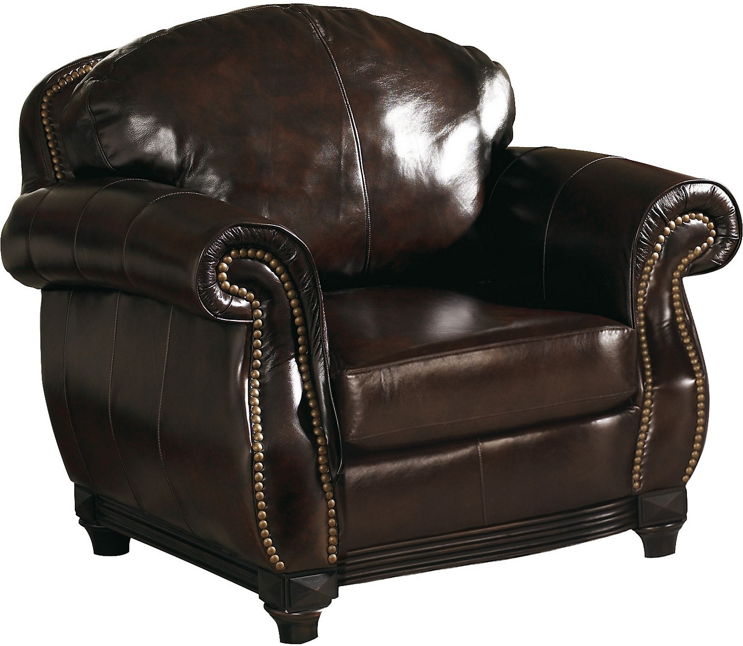Living Room Furniture - Prestige 100% Genuine Leather Chair - Brown