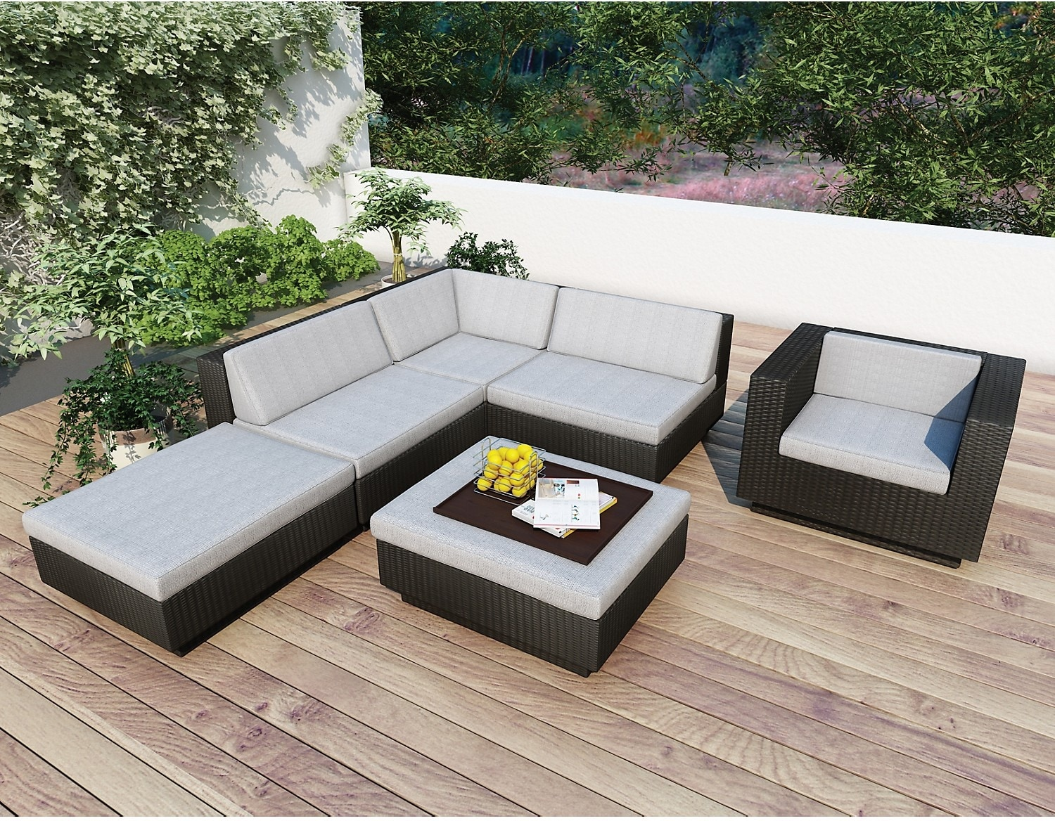 Park Terrace 6-Piece Patio Set – Black, No Armrest