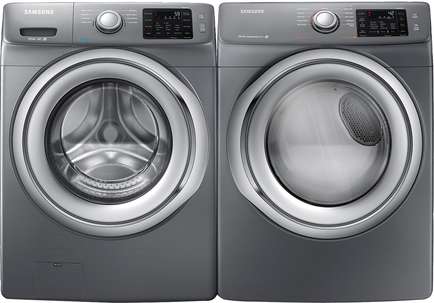 Washers and Dryers - Samsung 4.8 Cu. Ft. Front-Load Washer and 7.5 Cu. Ft. Electric Dryer - Platinum