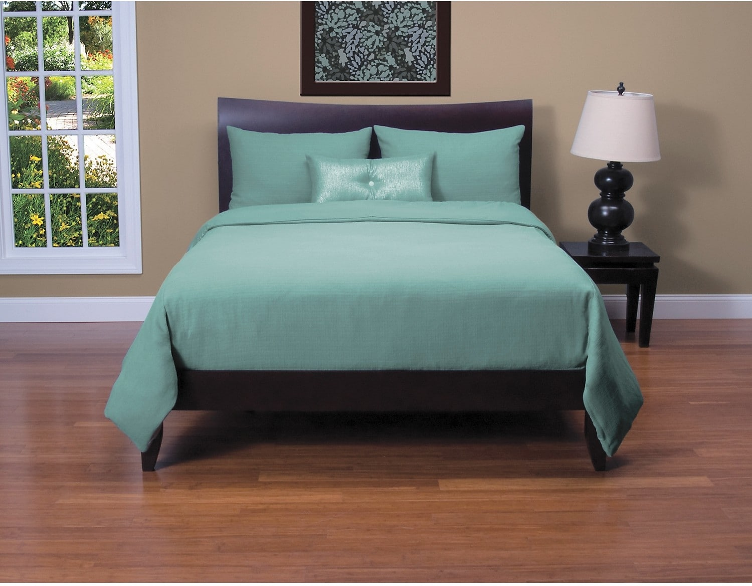 Accent and Occasional Furniture - Belfast Teal 4 Piece King Duvet Cover Set