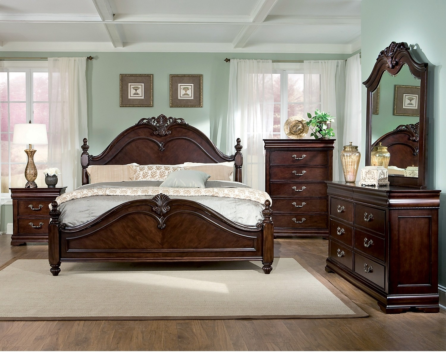 Westchester 8 piece queen bedroom set the brick for Bed settings