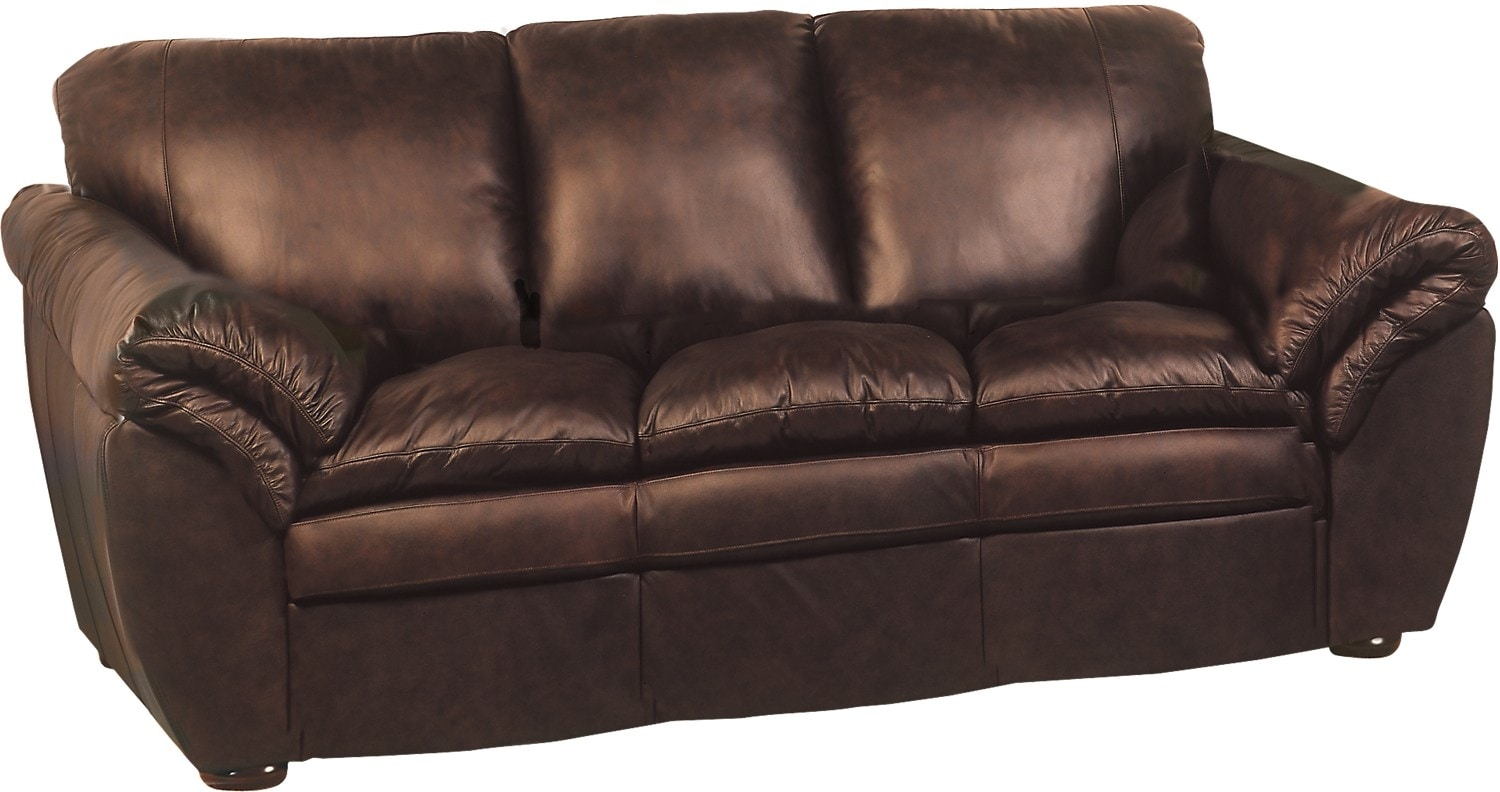 Brown 100 genuine leather sofa united furniture warehouse for Real leather sofas