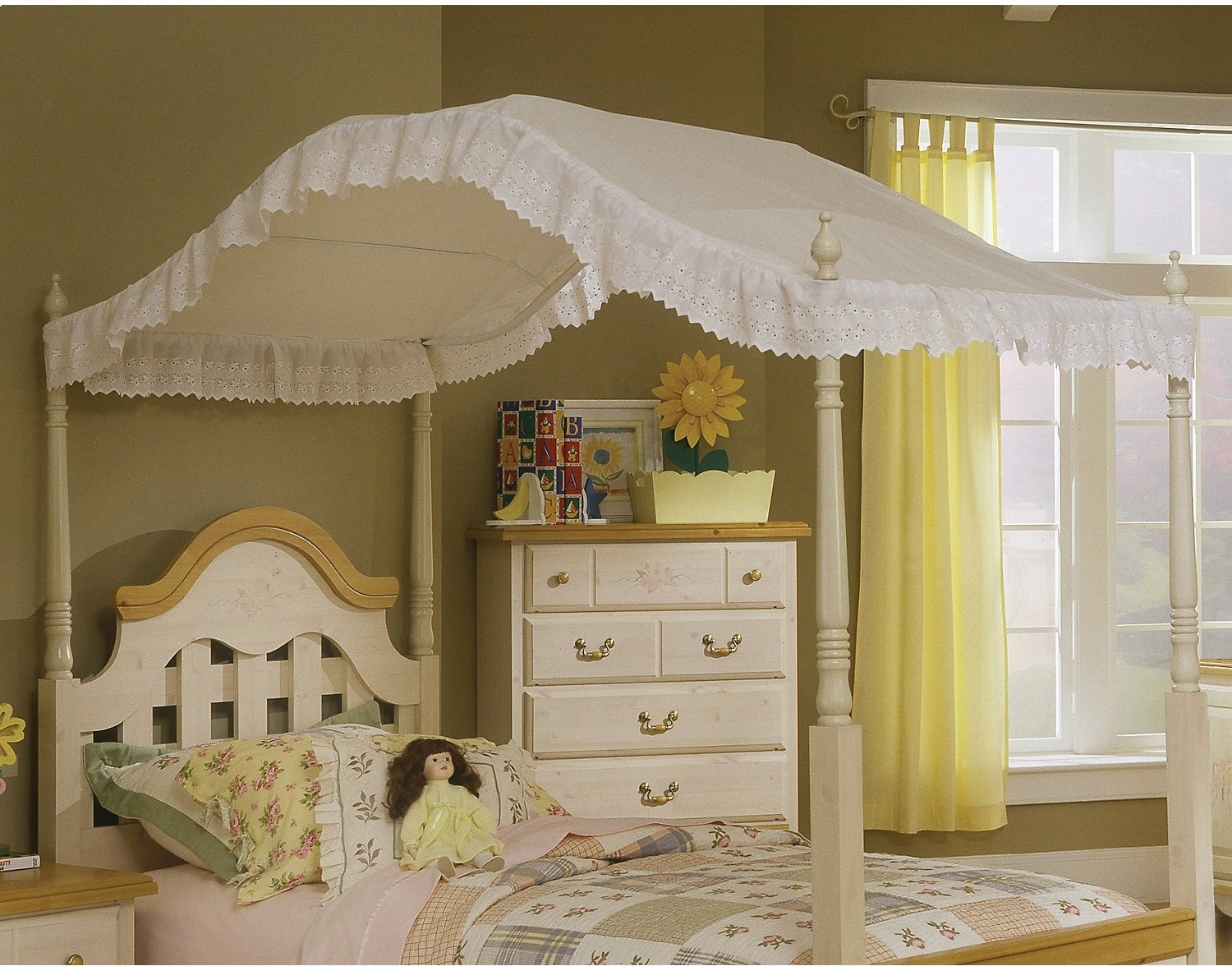 Accent and Occasional Furniture - White Eyelet Twin Canopy