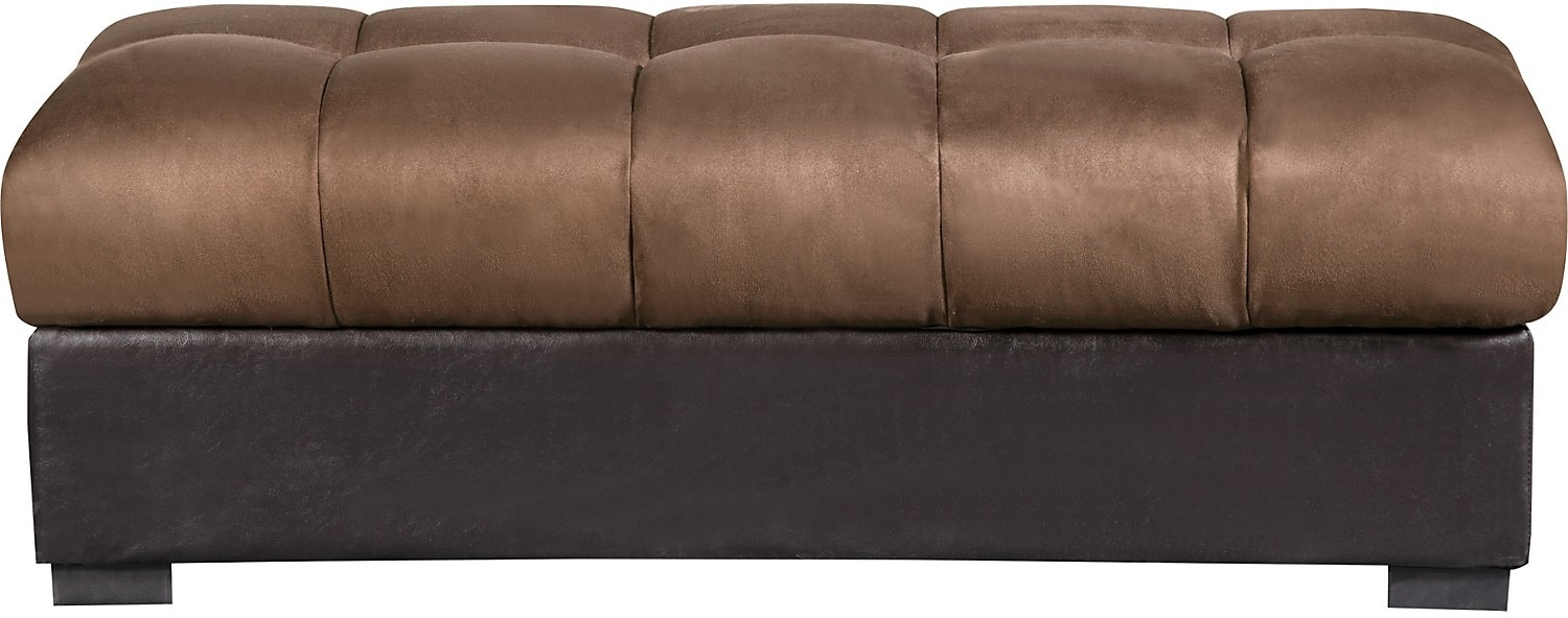 Living Room Furniture - Billie Microfibre Storage Ottoman – Brown