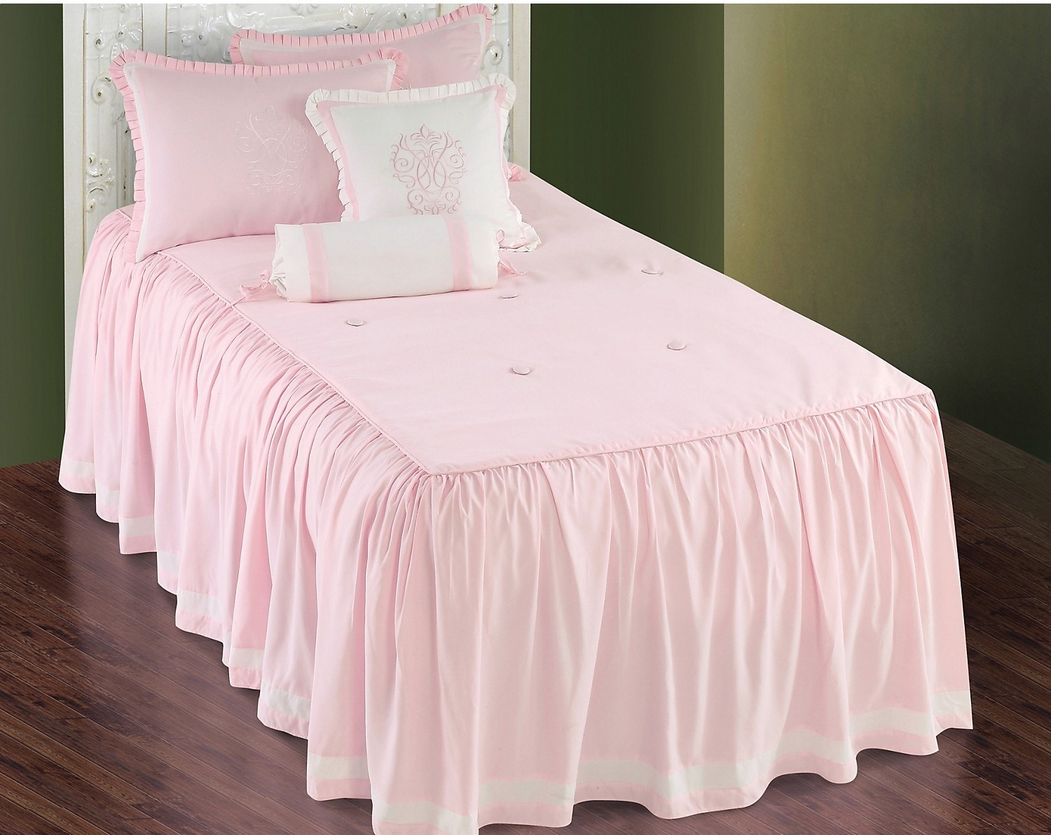 Accent and Occasional Furniture - Daphne 5 Piece Full Comforter Set - Pink & White
