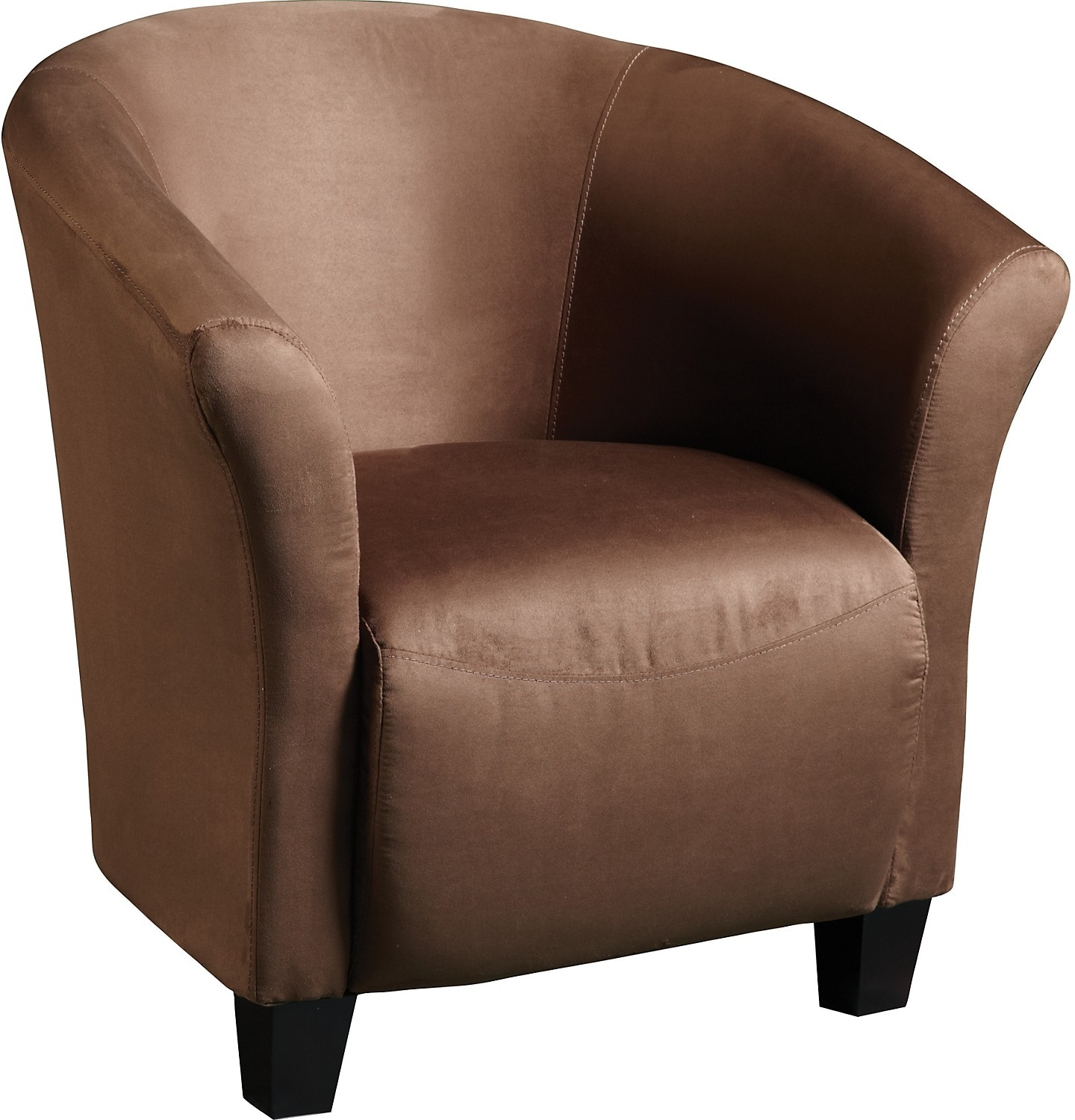 Living Room Furniture - Chocolate Microsuede Tub Chair