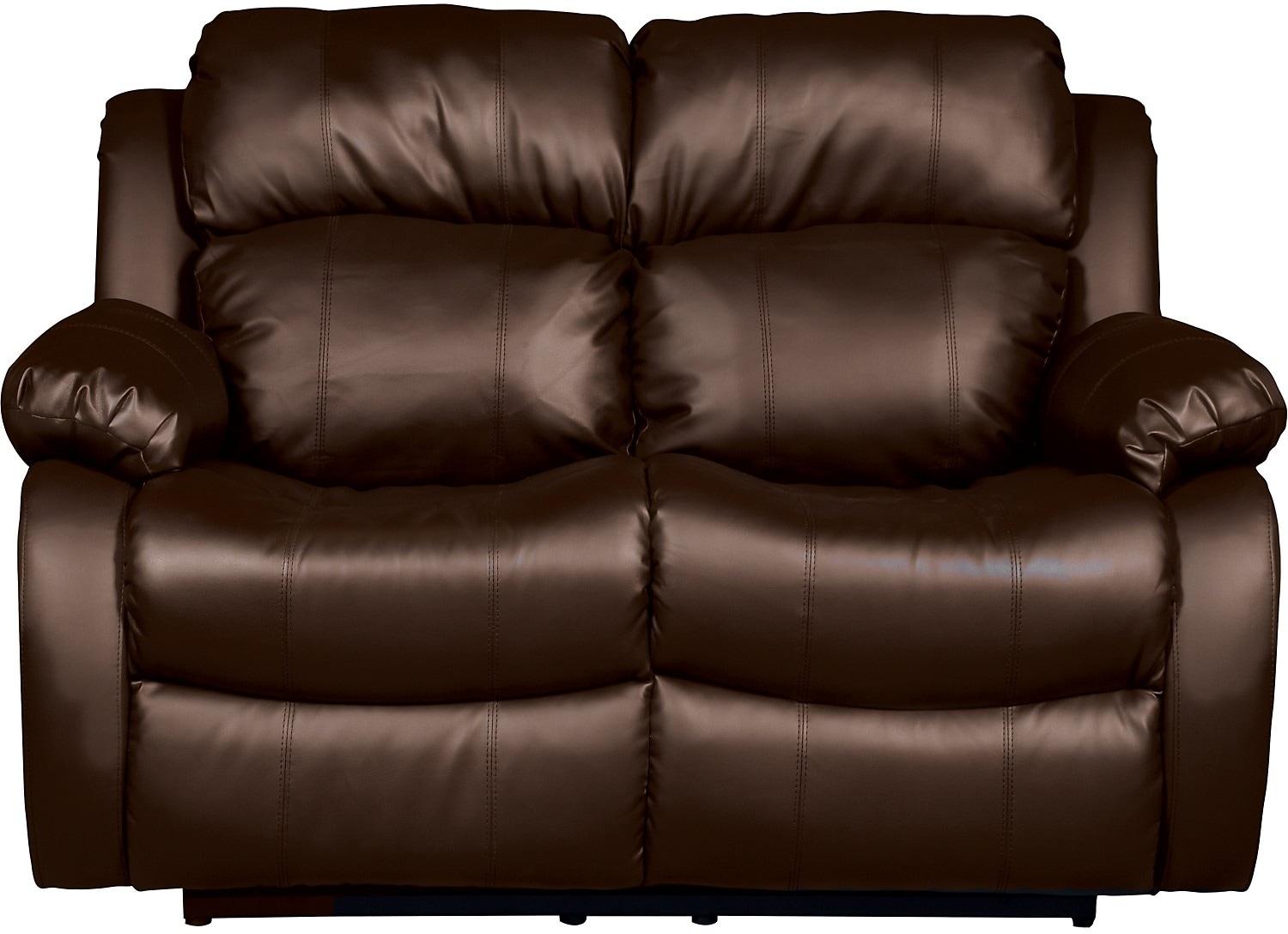 Living Room Furniture - Omega 2 Bonded Leather Reclining Loveseat – Brown