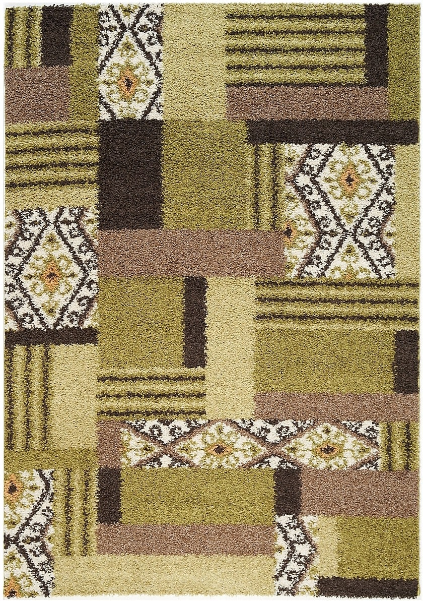 Rugs - Sydney Green, Mocha and Cream Area Rug – 5' x 8'