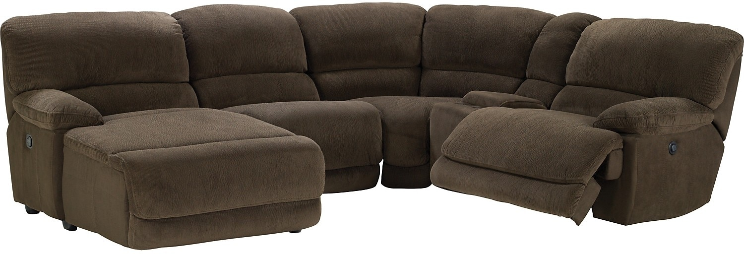 Devon 5 piece microsuede sectional brown the brick for Chaise inclinable