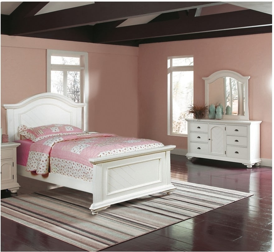 Brook 5 piece full bedroom set off white the brick for White full bedroom furniture