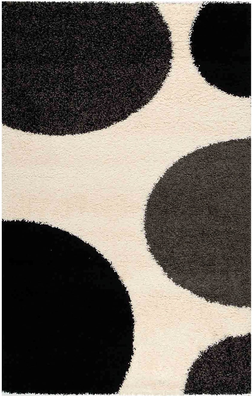 Rugs - 5' x 8' Shaggy Area Rug - Black, Gray and Cream