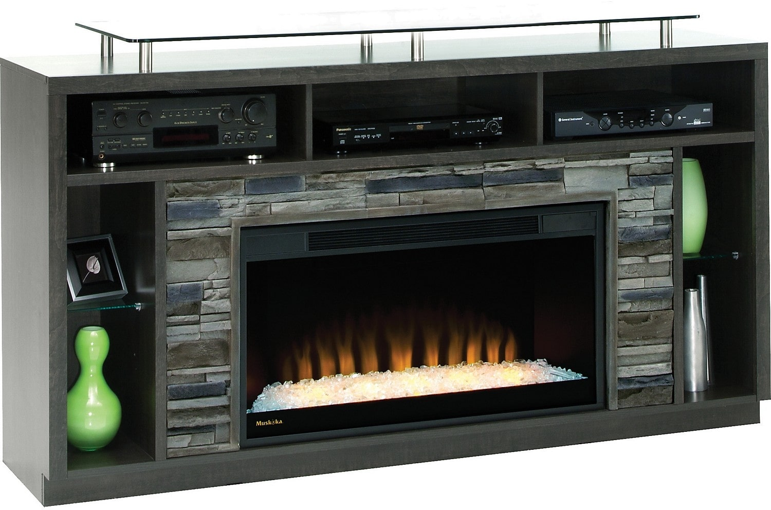 Arlington 71 TV Stand With Crystal Ember Firebox