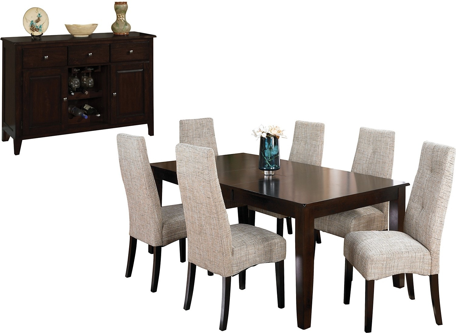 Dining Room Furniture - Dakota 8 Piece Dining Package w/ Linen Chairs