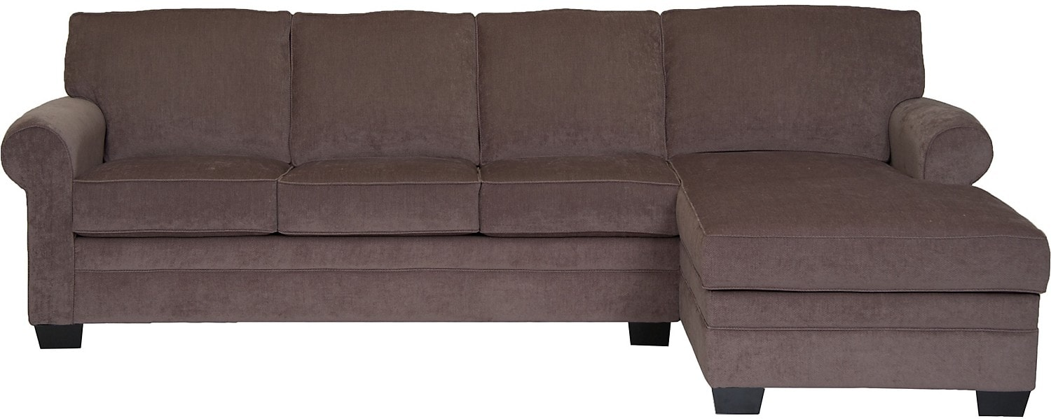 Living Room Furniture - Designed2B Dov Checkerboard-Pattern Chenille 2-Piece Sectional - Otter
