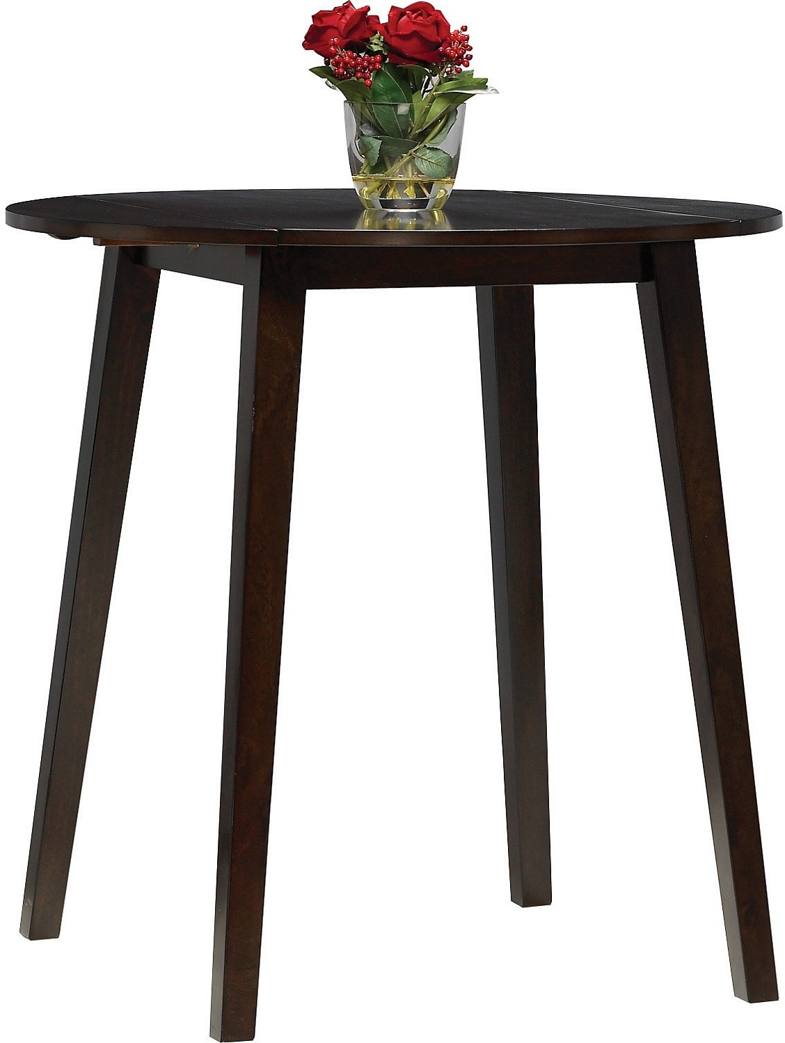 Adara round drop leaf counter height dining table united for Round drop leaf dining table