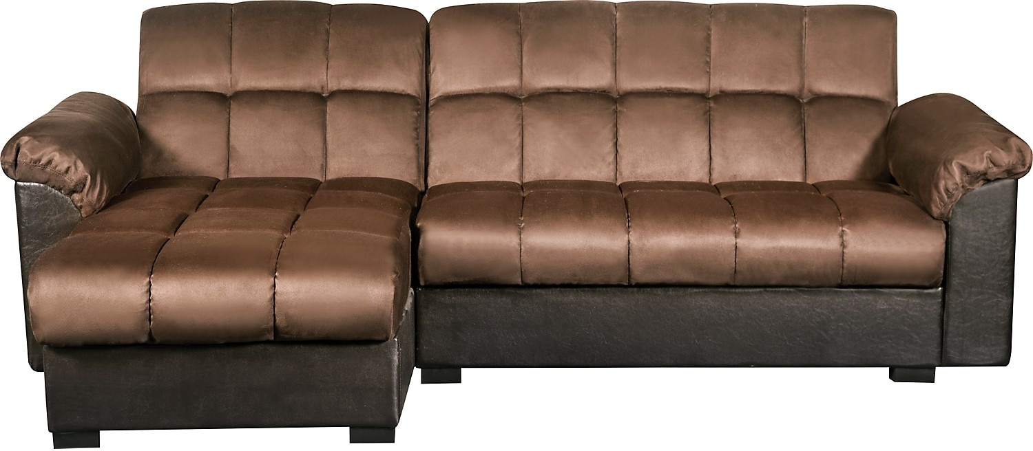 Living Room Furniture - Billie 2-Piece Storage Futon Sectional with Chaise