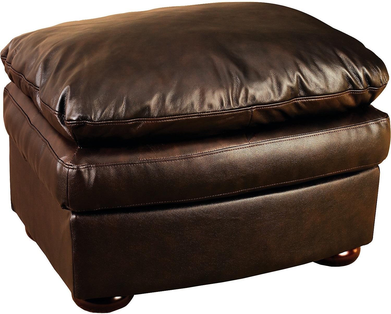 Living Room Furniture - Brown 100% Genuine Leather Ottoman