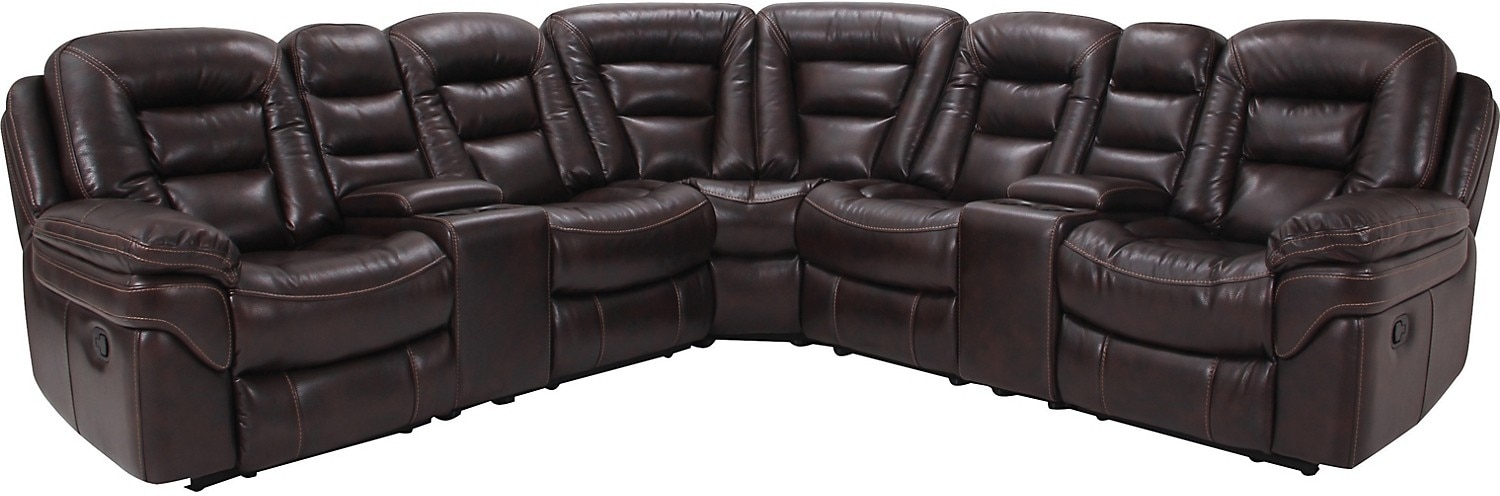 Living Room Furniture - Leo Leathaire 7-Piece Reclining Sectional - Walnut