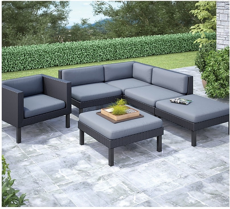 Outdoor Furniture - Oakland 6-Piece Patio Conversation Set – Black