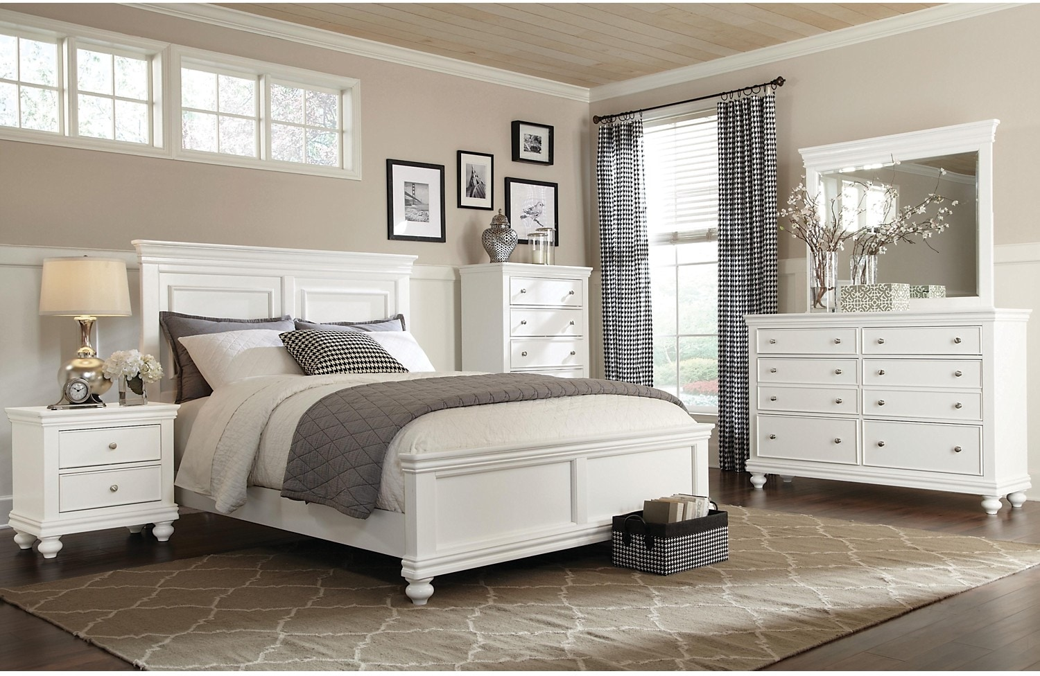 Bedroom Furniture - Bridgeport 7-Piece King Bedroom Set – White