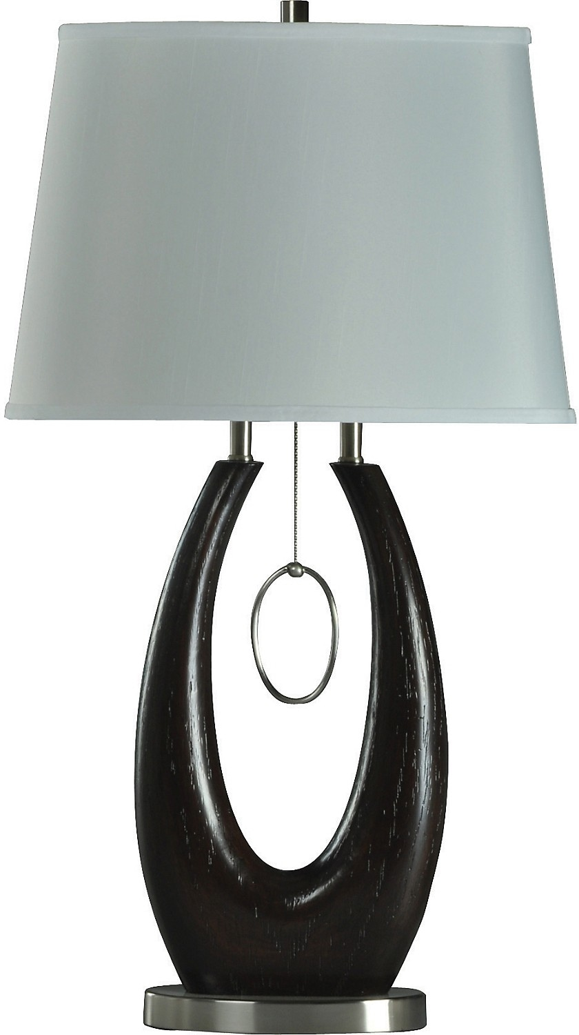 Oval Wood Table Lamp