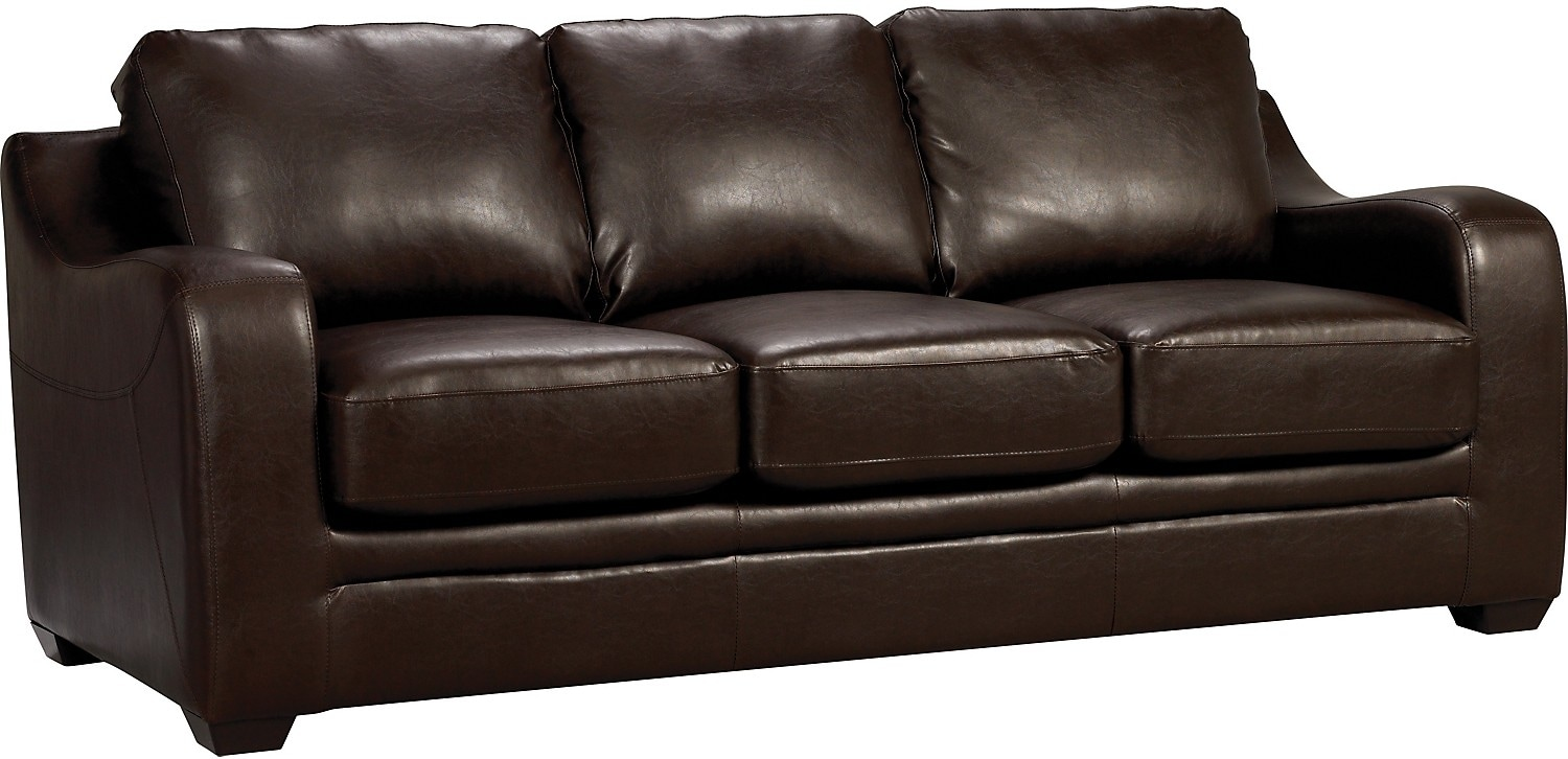 Chase brown faux leather sofa the brick for Furniture sofas and couches