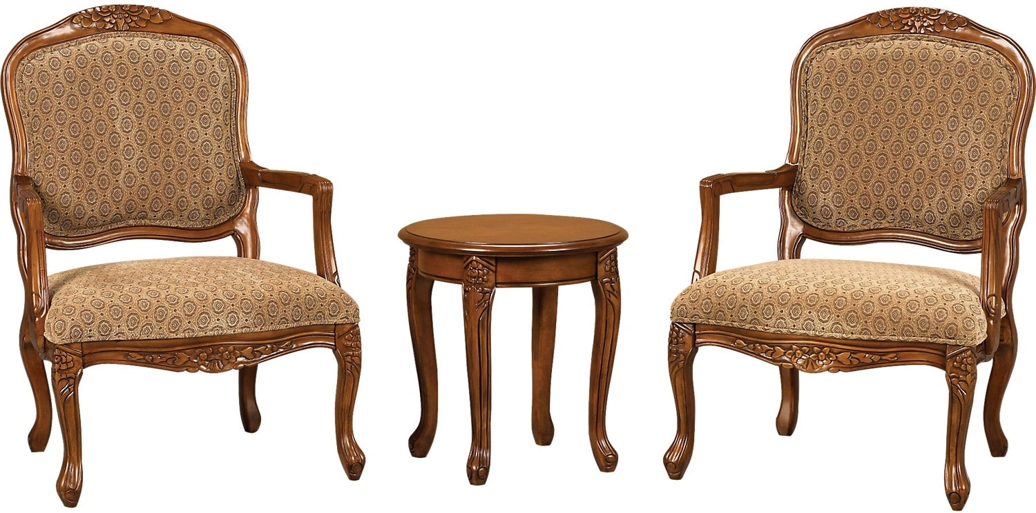 3 Piece Tasha Accent Chairs & Side Table Set