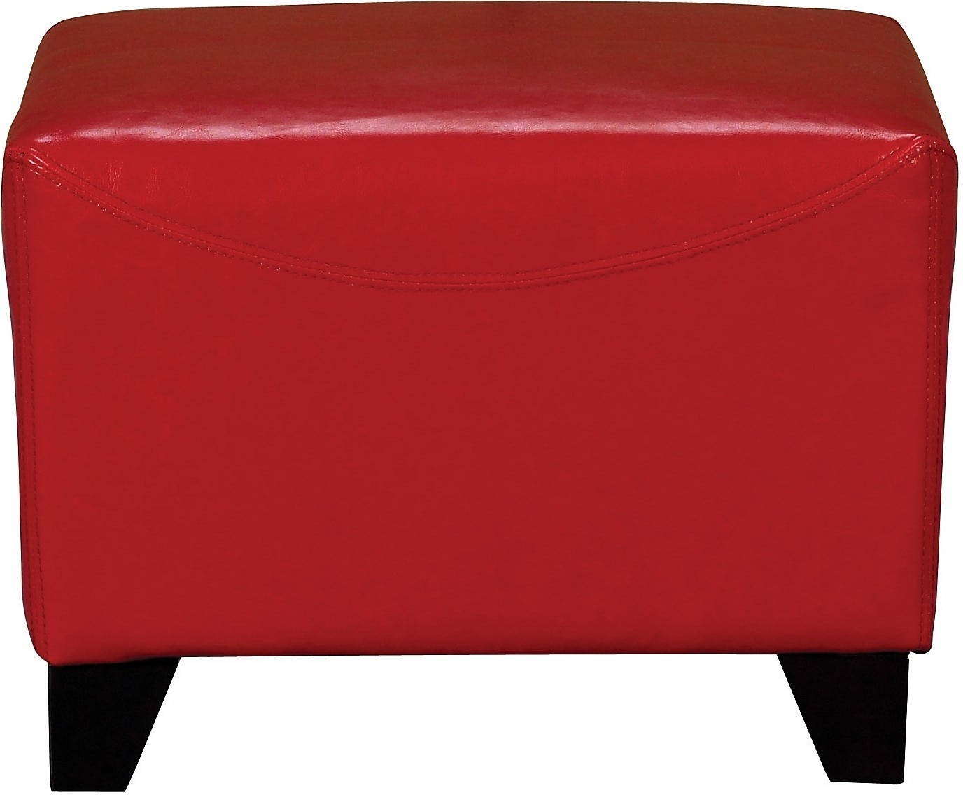 Zello Bonded Leather Ottoman - Red