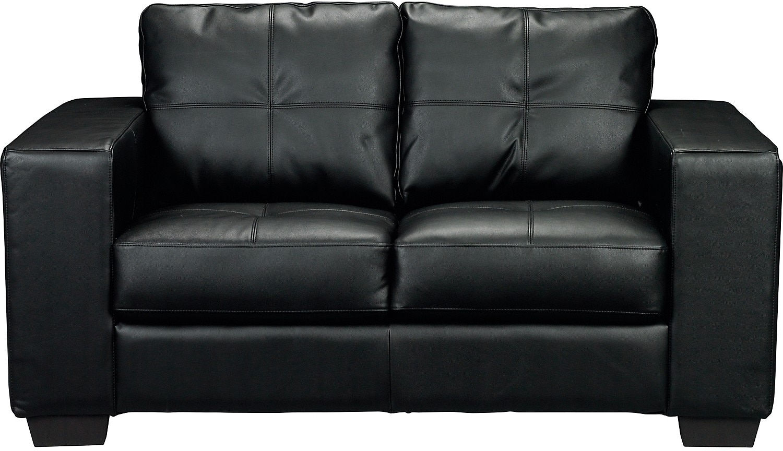 Living Room Furniture - Costa Black Bonded Leather Loveseat