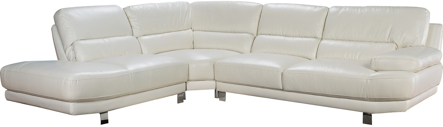 Living Room Furniture - Nico 3-Piece Genuine Leather Left-Facing Sectional – Ivory