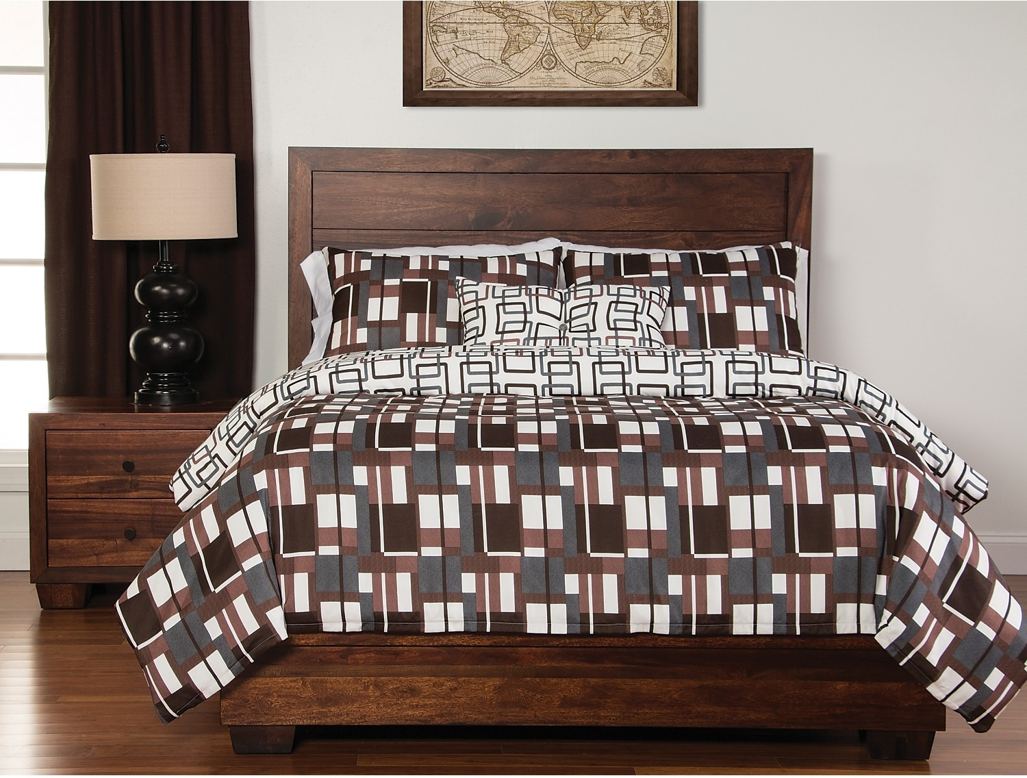 Mattresses and Bedding - Plaid 4-Piece Reversible Queen Duvet Cover Set