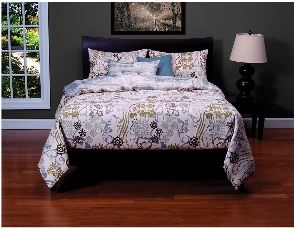 Mattresses and Bedding - Ornamental Reversible 4 Piece Queen Duvet Cover Set