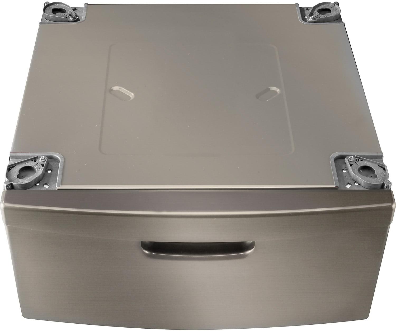 Appliance Accessories - Piédestal de buanderie de 15 po avec tiroir de rangement - platine inoxydable