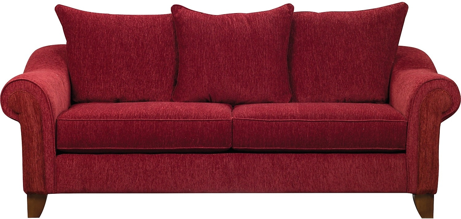 Living Room Furniture - Reese Chenille Sofa - Red