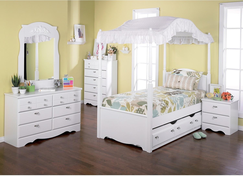 Diamond Dreams 9-Piece Twin Canopy Bedroom Package