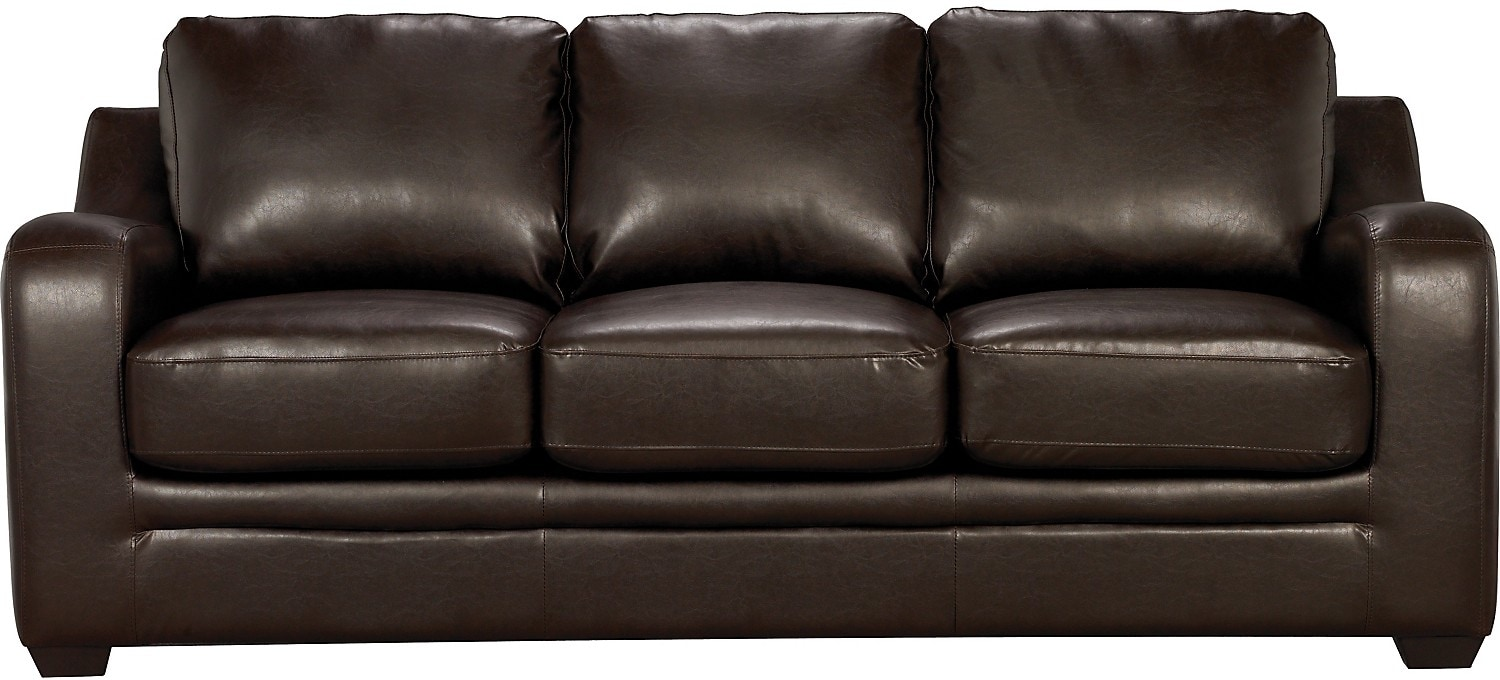 Living Room Furniture - Chase Brown Faux Leather Sofa